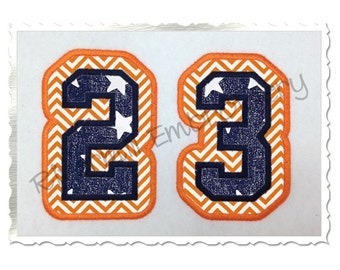Double Applique Varsity Numbers Machine Embroidery Design - 4 Sizes