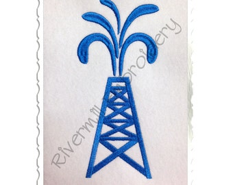 Large Oil Rig Machine Embroidery Design - 4 Sizes