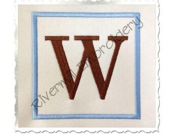 Square Monogram Initial Machine Embroidery Font Alphabet - 4 Sizes