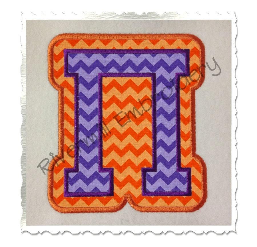 Double applique greek varsity machine embroidery font alphabet for Varsity letter applique