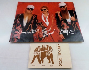 Vintage 1980's ZZ Top Official Fan Club Promotional Autograph Band Picture w Note Pad.  Ross Halfin 10x8 Picture and Japan 5x3 Pad.