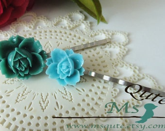 Mix and match - Big and small rose headpin - Teal and Aqua