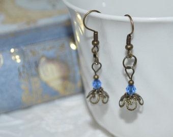 Gifts for her, under 20, Dangle Earrings White Blue Brass Flower OOAK Original Design