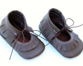 Dark Brown Mary Jane Leather Baby Moccasins