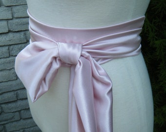 Variety of shades, Light Dusty Pink Shade Sash satin charmeuse various way to tie