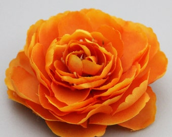 Bright Orange Ranunculus Flower Hair Clip and Pin - Clip in Hair or Pin to Jacket or Hat