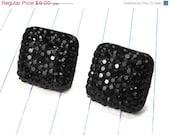 ON SALE black earrings - black studs - black jewelry - square - square studs - resin - resin earrings - wedding jewelry - modern - minimalis