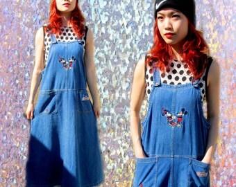 Mickey Mouse Disney Denim Baggy Jean Overalls Grunge Dress
