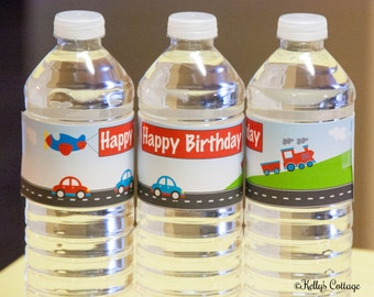 Planes, Trains, & Automobiles Birthday Party Water Bottle Wraps, Instant Download, Printable, Digital