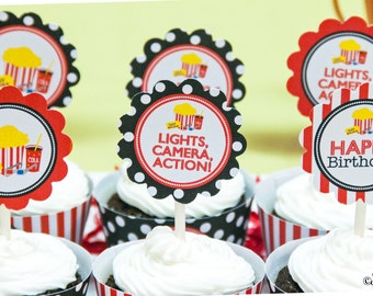 Movie Night Birthday Party 2 Inch Party Circles, Instant Download, Printable, Cupcake Toppers, Favor Tags, Decorative Circles
