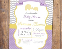 Modern Baby Shower Invitation with chevron and elephants, gender neutral, purple, yellow, grey, baby shower Invites (item207)