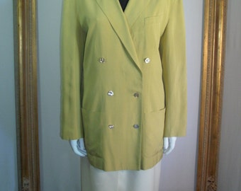 CLEARANCE Vintage I. Magnin Yellow Silk Unstructured Jacket - Size Medium