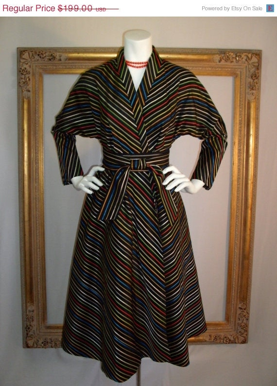 20% OFF SALE - Vintage 1950's Maxan Black Wrap Dress with Multi Colored Stripes - One Size