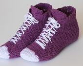 Crocheted Purple Unisex Sneaker  high top shoes, Unisex Slippers PDF, Unique crochet Patterns