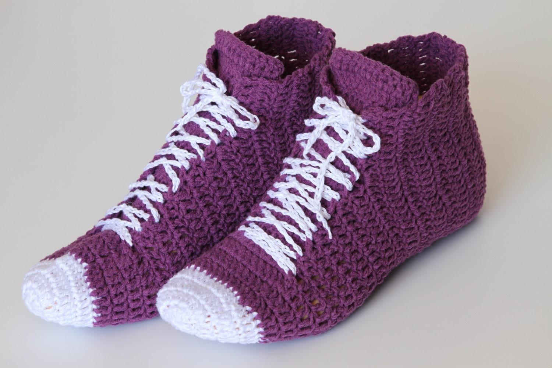 Crochet High Top Sneakers Free Pattern : Crocheted Purple Unisex Sneaker high top shoes Unisex
