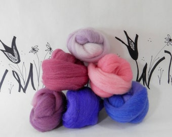Wooly Buns loose wool roving assortment in Blueberry Pie, needle felting supplies, 1.5 oz, hand dyed wool roving, purple plum