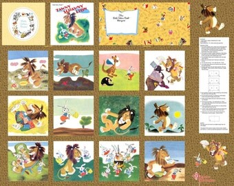 TAWNY SCRAWNY LION  Soft Golden Book Fabric Panel to make a book