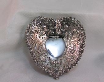 Vintage Gorham Sterling Heart Bon-Bon Bowl, 5 inch