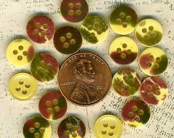 18 Vintage Mottled Yellow Green Wine Sewing Buttons 3/8 in 10mm