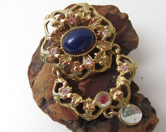 Nice Gold Tone and Blue Brooch