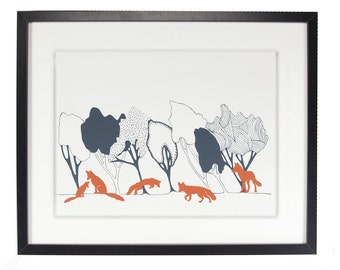 In The Woods Day with Foxes original art screen print