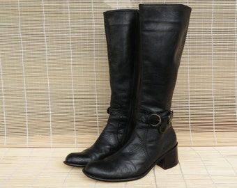 Vintage 1990's Lady's Black Leather Zip Up Harness Buckle Riding Boots Size: EUR 38 / US Woman 7