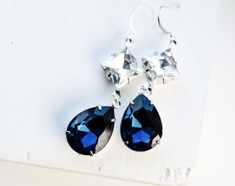 Navy Bridal Earrings | Jewel Earrings | Long Blue Earrings in Silver | Cocktail Jewelry | Dark Sapphire Rhinestone Crystal Earrings
