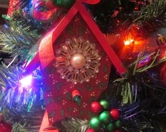 CHRISTMAS ORNAMENT VINTAGE Birdhouse