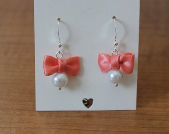 White Pearl and Coral Bow Earrings