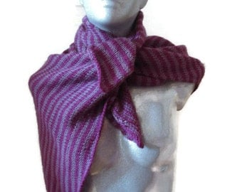 Knitted Scarf Triangle Shaped Pink Purple Striped Wool Acrylic