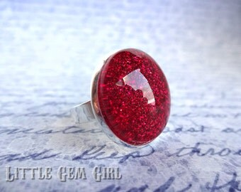 Ruby Slipper Wizard of OZ Ring - Silver Setting -  Red Super Sparkle