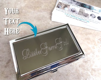 Custom Engraved Business Card Holder - Personalized with your Name Company Logo or Text - Metal Engraved Silver Business Card Case