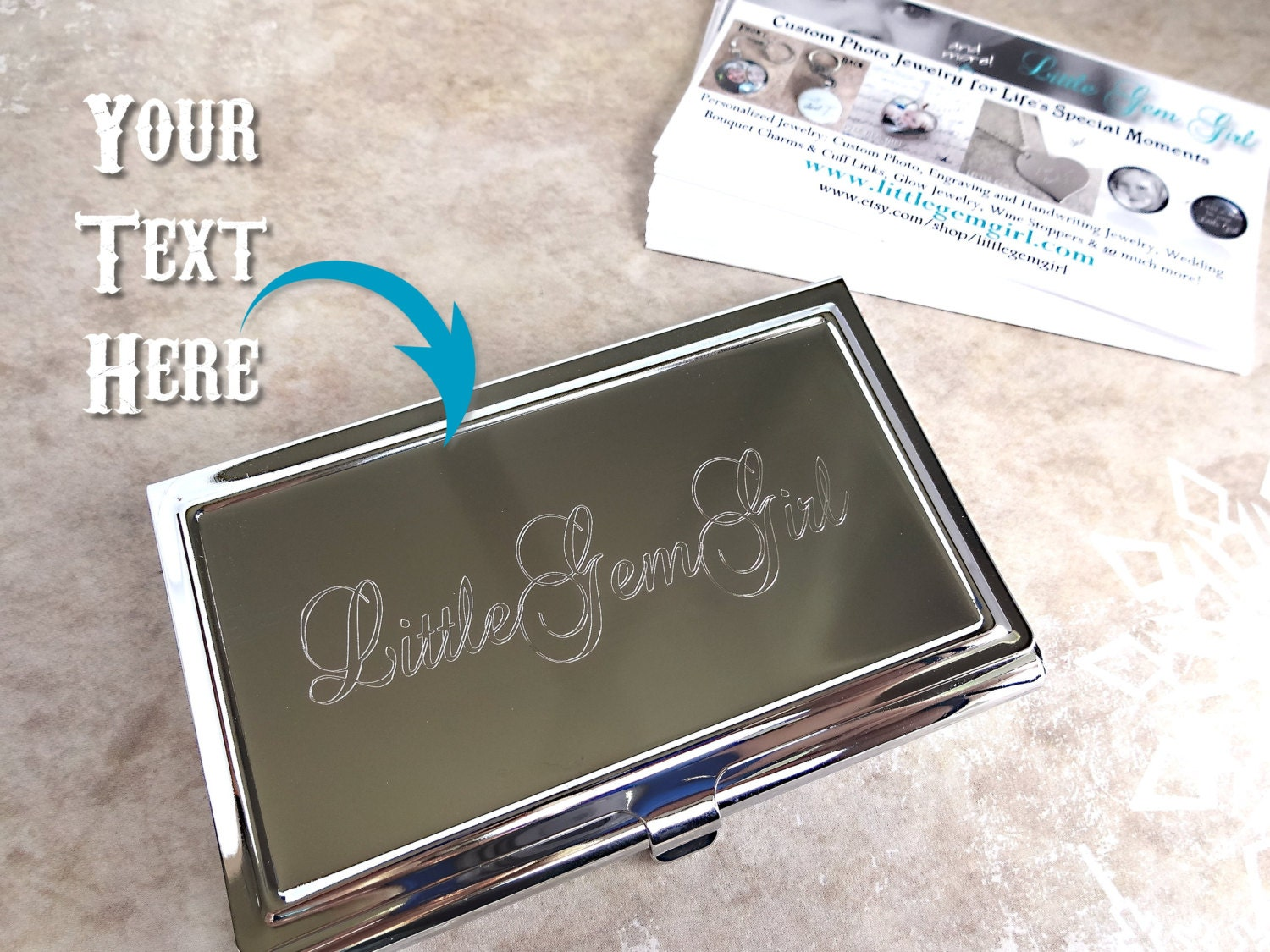 Custom Engraved Business Card Holder Personalized with your