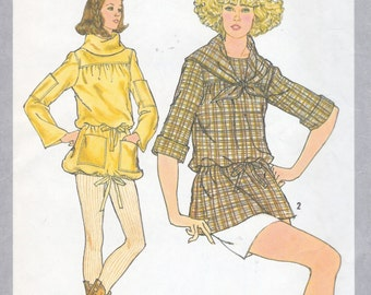 Simplicity 8589 Misses' Tunic with Detachable Scarf Pattern, UNCUT, Size 14, Vintage 1978, Retro, Flashback