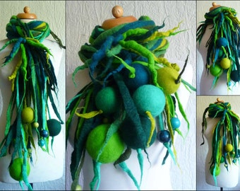 Custom made, felted wool necklace, lariat, belt ,scarf, handmade, felt, quirky and unusual spiky necklace, lagenlook, MADE TO ORDER