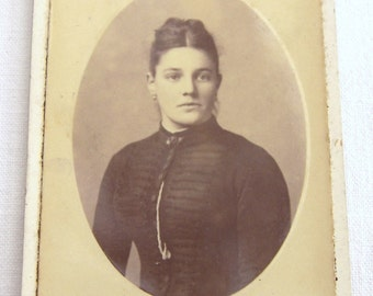 Vintage French Studio Portrait, Cabinet Card of the Late 1800's, Old Studio Portrait, Photograph of  a Young Lady