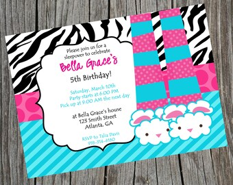 Printable Pajama Party Invitation. Customized Sleepover Party Invite.