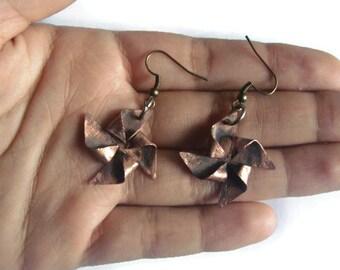 Rustic copper pinwheel earrings