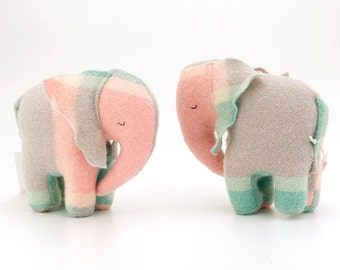 Vintage Baby Elephant Toy - Sea-green / Pink