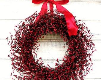 Valentine Wreath-Valentines Day Decor-RED BERRY Wreath-Farmhouse Wreath-Holiday Wreath-Christmas Gift-Valentines Day Decor-Gifts-Wreaths