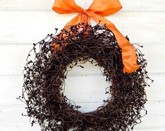 Halloween Wreath-Fall Door Wreath-BLACK & ORANGE Wreath-Holiday Wreath-Halloween Door Decor-Fall Wreath-Scented Wreaths-Custom Made Wreaths