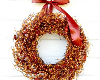 Fall Wreath-Fall Home Decor-ROSE HIP Wreath-Thanksgiving Wreath-Autumn Door Decor-Rustic Wreath-Custom SCENTED Wreath-Fall Housewarming Gift