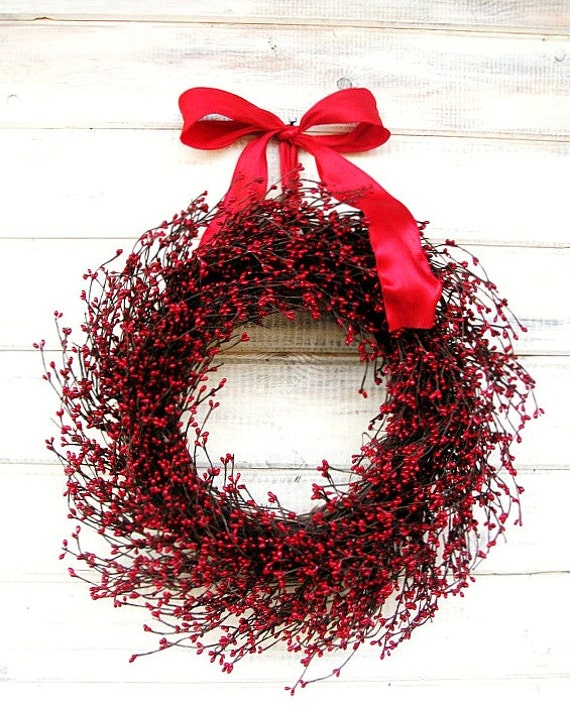 Winter Wreaths-Winter Door Wreath-Summer Wreath-Holiday Home Decor-RED BERRY Wreath-Holiday Wreath-Christmas Gift-Valentines Day Decor-Gifts