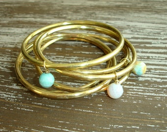 Gold Bangles: Turquoise Fire Agate Beaded Indian Jewelry, Bohemian Gypsy Stacked Bracelet Set, Boho Belly Dance Bollywood, India