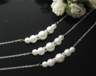 SET of 5 Rhinestone pearl necklace, bridesmaid gift, bridal necklace, bridesmaid necklaces wedding jewelry - W030