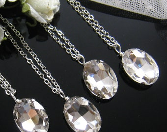 SET of 4 Oval rhinestone necklace, Bridesmaids necklace Bridal Necklace Wedding jewelry W032