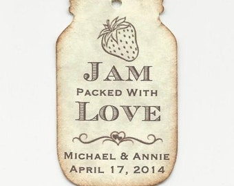 100 Jam packed with Love Personalized Handmade Tags-Wedding Wish Tags-Jelly/Jam jar tags-Favor tags