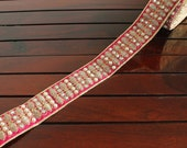 1Yd Pink Silk Fabric Embroidered Trim-Silk Sari Trim-Golden Piping on Magenta Fabric Trim-Pearls Stones Designs-Silk Fabric Trim By The Yard
