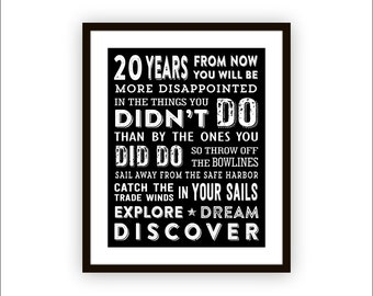 Mark Twain Inspirational Quote Typography Wall Art Explore Dream Discover