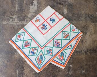 1950's Fiesta Table Cloth / Mid Century Table Mat / Vintage House Decor